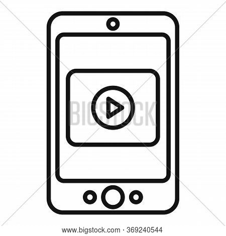 Smartphone Video Lesson Icon. Outline Smartphone Video Lesson Vector Icon For Web Design Isolated On