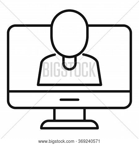 Online Live Lesson Icon. Outline Online Live Lesson Vector Icon For Web Design Isolated On White Bac