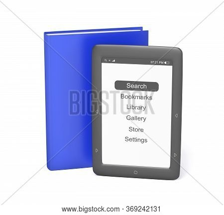 Modern E-book Reader And An Ordinary Book, 3d Illustration