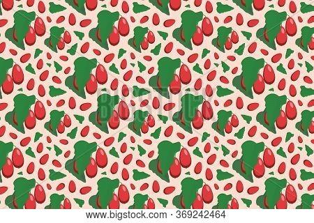 Dogwood Pattern On Pink. Bright Fruit Pattern