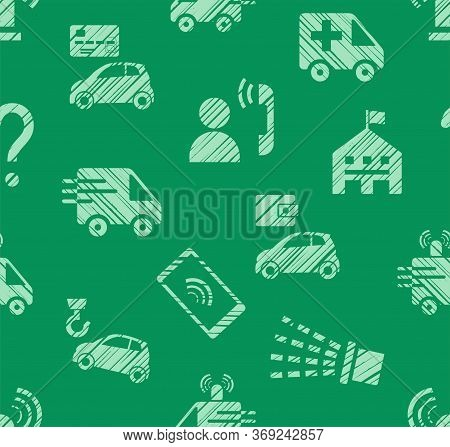 Emergency Service, Seamless Pattern, Color, Hatching, Green, Vector. Emergency Medical And Fire Assi