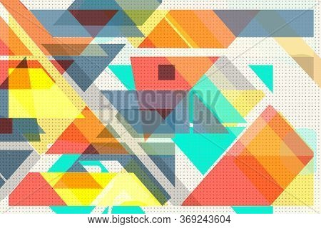 Colorful Geometric Cover Swiss Modernism. Orange And Turquoise Blue And White Texture. Abstract Patt