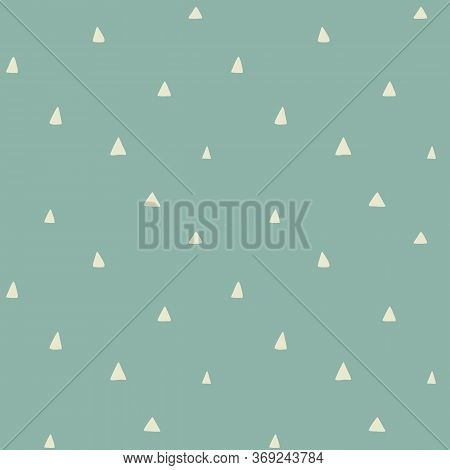 Creamy White Triangles On Grey Blue Background, Vintage Pastel. Vector Seamless Retro Pattern, Hand