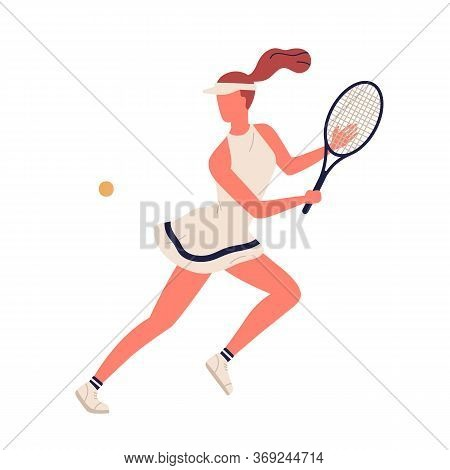 Colorful Sportswoman Big Tennis Player Demonstrate Smash Vector Flat Illustration. Professional Spor