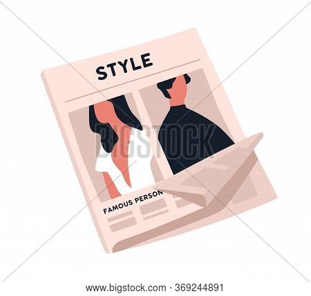 Fashion Newspaper With Crumpled Page Vector Flat Illustration. Paper Magazine Sheet With Stylish Man