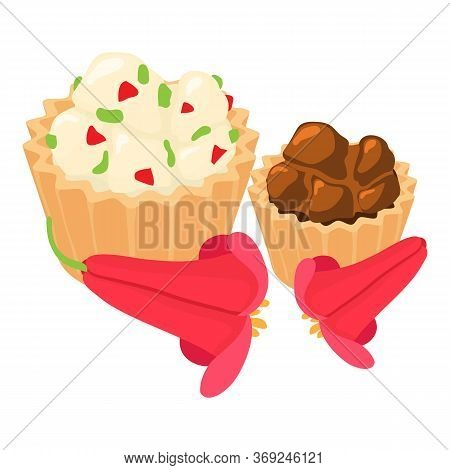 Traditional Cupcake Icon. Isometric Illustration Of Traditional Cupcake Vector Icon For Web