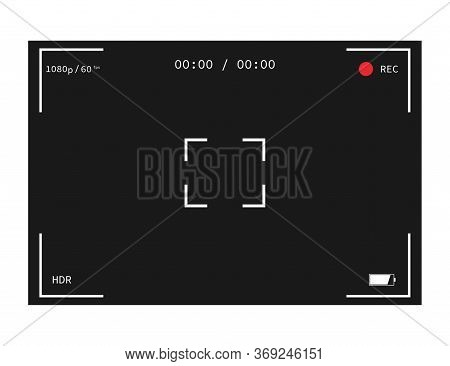 Camera Interface. Photo And Video Frame. Mockup Of Camera Screen. Record Icon With Full Hd Resolutio