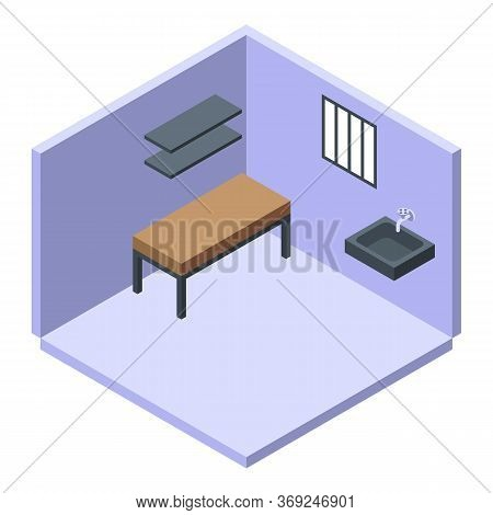 Prison Room Icon. Isometric Of Prison Room Vector Icon For Web Design Isolated On White Background