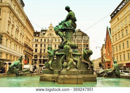 Vienna, Austria: May 1, 2020 - The Donner Fountain (donnerbrunnen) In Neuer Markt In Vienna, Austria