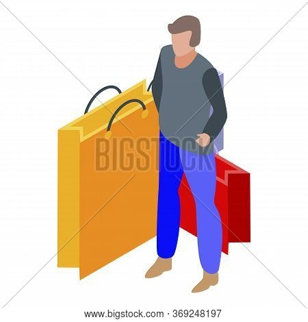 Shopping Addiction Icon. Isometric Of Shopping Addiction Vector Icon For Web Design Isolated On Whit