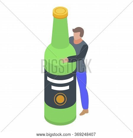 Alcohol Addiction Icon. Isometric Of Alcohol Addiction Vector Icon For Web Design Isolated On White