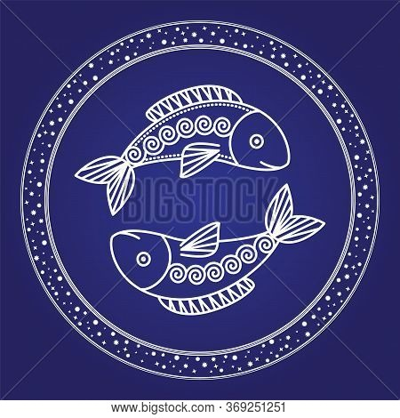 Fish Horoscope Symbol Isolated Pisces Astrological Outline Sign. Vector Illustration Of Pisces Astro