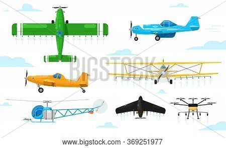 Agricultural Aviation. Crop Duster Aircrafts Spraying Chemicals Set. Airplane, Biplane, Monoplane, H
