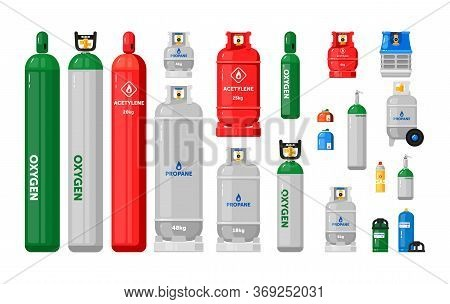 Gas Cylinders. Metal Tanks With Industrial Liquefied Compressed Oxygen, Petroleum, Lpg Propane Gas C