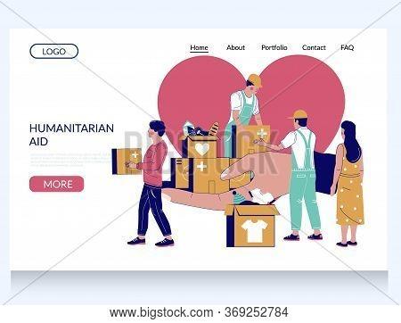 Humanitarian Aid Vector Website Landing Page Template