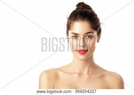 Beauty Shot Of Beautiful Woman Wearing Red Lipstick