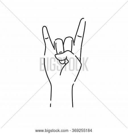 Hand Showing Coolness Black Line Icon. Heavy Metal Hand Gesture. Pictogram For Web Page, Mobile App,