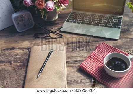 Calendar And Laptop For Planner And Organizer To Plan And Reminder Daily Appointment, Meeting Agenda