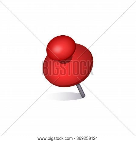 Red Attachment Pin. Thumbtack, Message, Pushpin. Can Be Used For Topics Like Board, Reminder, Office