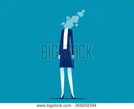 Businesswoman Dissolves In Smoke. Flat Cartoon Vector Style Design