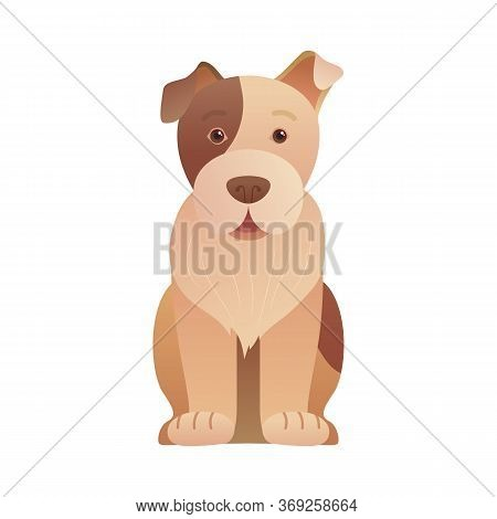 Funny Sitting Dog Icon In Cartoon Style. Cute Dog Pictogram For Pet Shop, Veterinary Clinic And Dayc