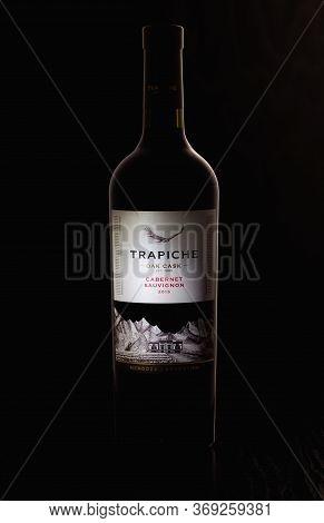 Prague,czech Republic - 15 May, 2020: Bottle Of Cabernet Sauvignon By Trapiche.  Trapiche Is A Winer