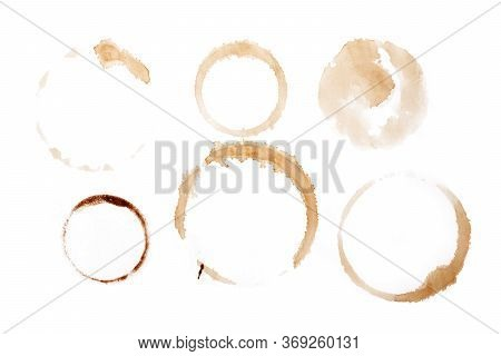 Brown Coffee Cup Mark On White Dirty, Pattern, Stains, Cafe, Design, Messy, Vector, Kahve