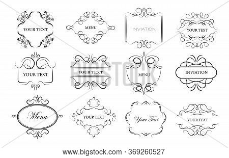 Vintage Ornament Frames Set. Ornate Decor Elements With Swirls And Vignette, Calligraphic Text Sampl