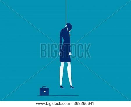 Strangled Businessman Hanged At Rope. Depression Concept.