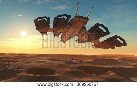 Spaceship on the background of the planet. 3d render