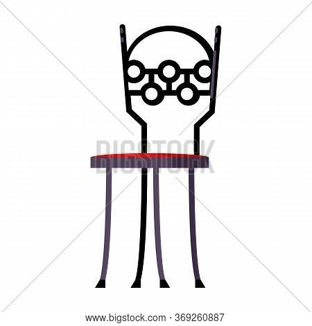 Metallic Vintage Chair Flat Icon. Dining Room, Kitchen, Cafe. Chairs Concept. Illustration Can Be Us