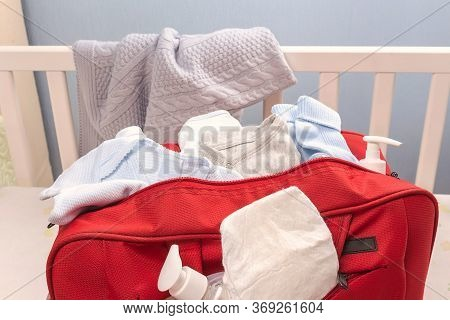 Close Up Baby Diaper Bag. Accessories For The Newborn. Baby Bag For Maternity Hospital. Diapers, Soc