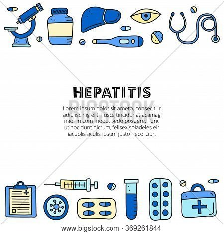 Poster With Doodle Colored Hepatitis Medical Icons Including Liver, Microscope, Syringe, Test Tube,