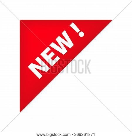 Red Left Top Corner Tag With New Banner. New Collection, Arrival, Novelty Tag. Sale Banner Concept.