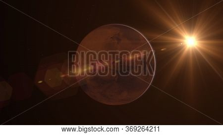 Mars Planet Rotating In The Outer Space.. Orbiting Planet Mars. Traveling To The Red Planet Mars In