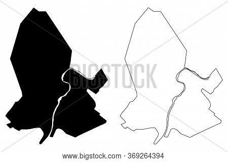 Ahvaz City (islamic Republic Of Iran, Persia, Khuzestan Province) Map Vector Illustration, Scribble