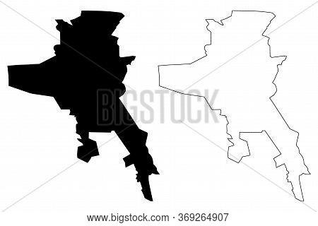 Rasht City (islamic Republic Of Iran, Persia, Gilan Province) Map Vector Illustration, Scribble Sket