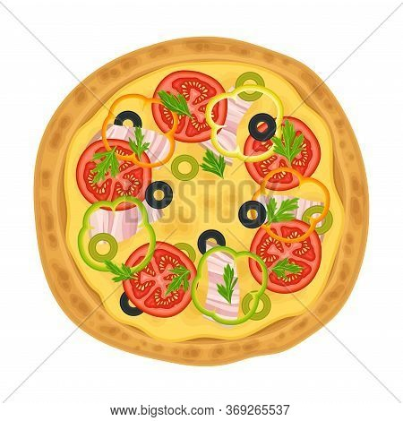 Hot Pizza With Sliced Bacon And Vegetables Top View Vector Illustration