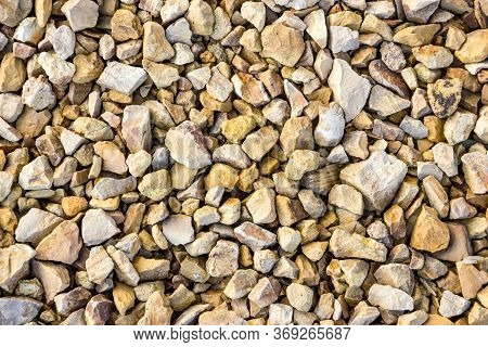 Crushed Limestone Aggregate, Close-up. Macadam Of Limestone For Road Surface.