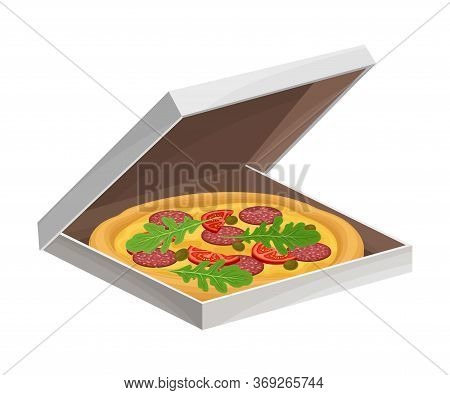 Hot Pizza With Salami Slices And Vegetables Packed In Carton Box Vector Illustration