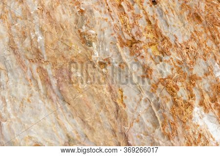 Untreated Marble Stone Texture, Closeup. Rough Untreated Stone Surface Of Marble Beige Color Texture