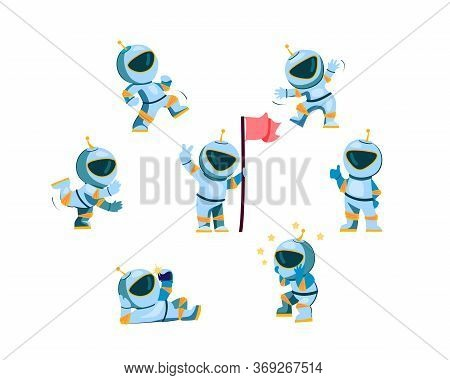 Astronaut Character Set. Cartoon Spaceman Wearing Space Suit Setting Flag, Walking, Dancing, Showing