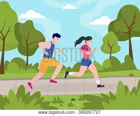 Two Happy People Jogging In Park. Couple Of Athletes Running For Marathon Together. Flat Vector Illu