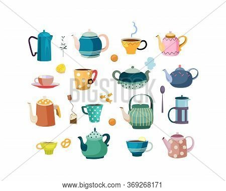 Teapots And Cups Set. Ceramic Dish, Crockery, Porcelain, Spoons, Cups And Mugs For Tea. Vector Illus