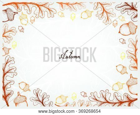 Autumn Tree, Illustration Hand Drawn Frame Of Oak Leaves And Fruits. Symbolic Tree To Show The Signs