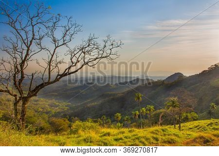 Sunset On The Way To Monteverde National Park, Costa Rica. Sunset In The Mountains Of Costa Rica, Ce
