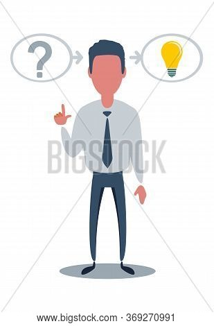 Human Head Creating A New Idea . Vector For Your Design