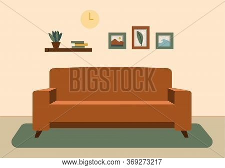 Cozy Living Room Interior With Furniture, Shelves With Books And Wall Paintings. Flat Cartoon Vector