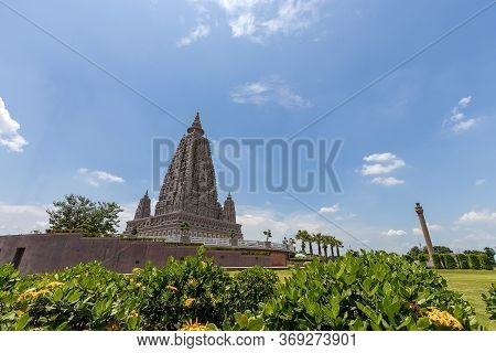 Bodh Gaya Pagoda Model At Panya Nantharam Temple And Is An Important Tourist Destination Of Pathum T