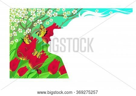 Vector Illustration. Allegory Of Spring. Silhouette Profile Of A Girl On A Background Of Blue Sky, F